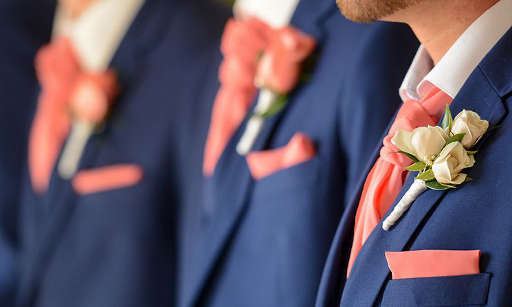 living coral weddig ties and pocket squares