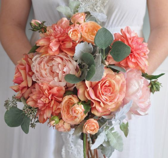 living coral wedding bouquet 1