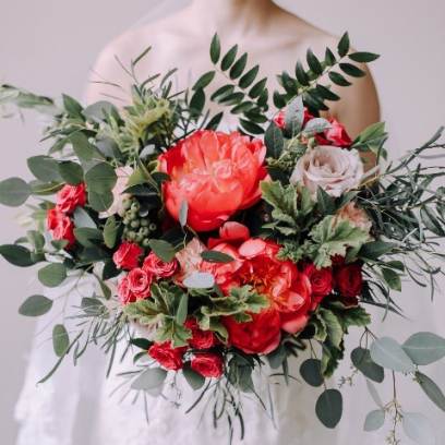 living coral wedding bouquet 4