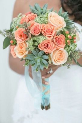 living coral wedding bouquet 5