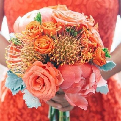 living coral wedding bouquet