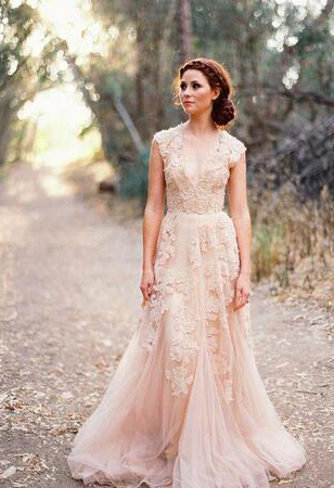 living coral wedding dress